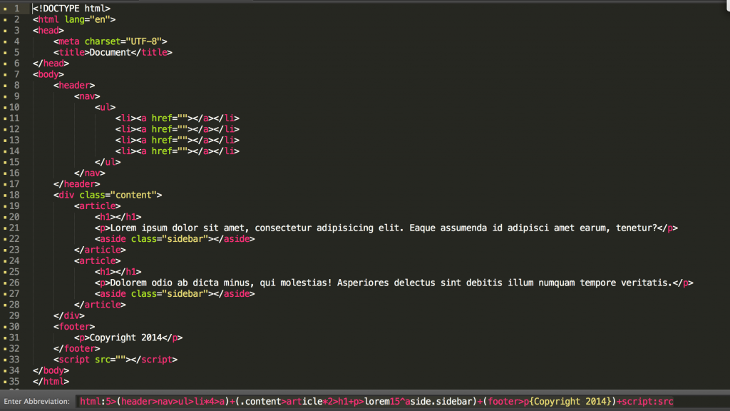 Sublime Text - Emmet Plugin