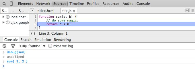 Chrome DevTools Console - Debug