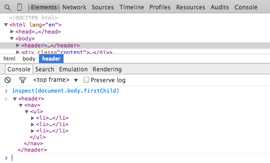 inspect in Chrome Developer Tools