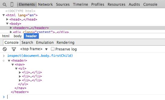 inspect in Chrome Developer Tools