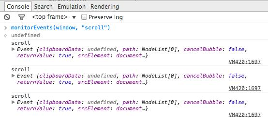 Chrome Developer Tools - Monitor events