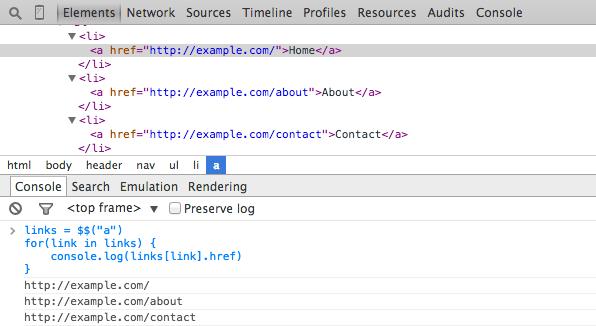 Chrome DevTools querySelectorAll