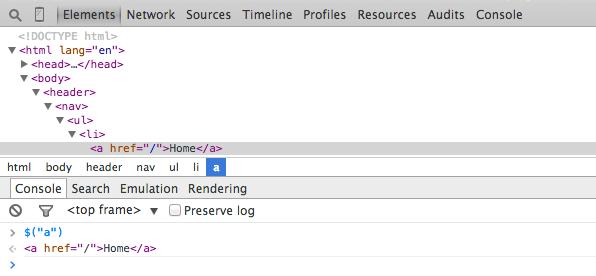 Chrome DevTools querySelector
