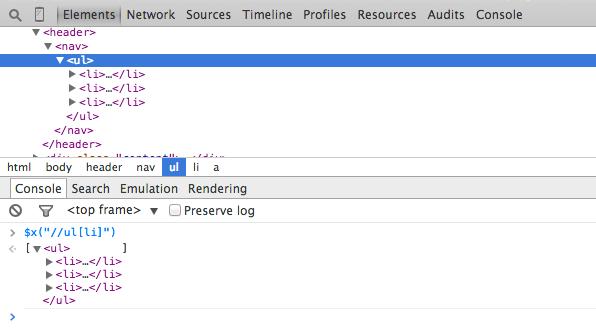 Chrome Developer Tools - XPath